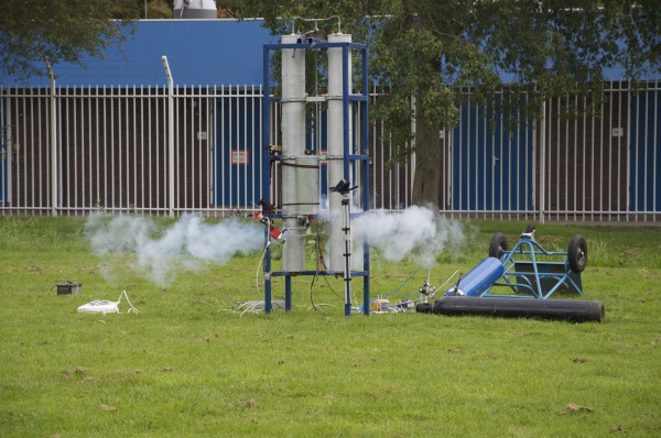 The actuator test in progress. Nitrous Oxide vapour is visible.