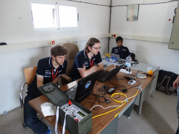 Electronics team performing the rf compatibility test