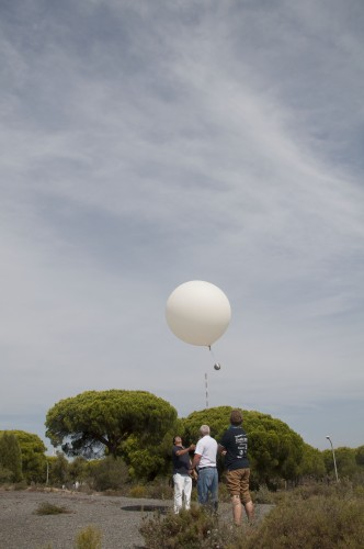 Weatherbaloon used for measuring the wind direction and speed
