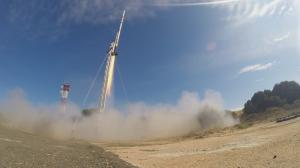 Liftoff of the Stratos II+ rocket at El Arenosillo