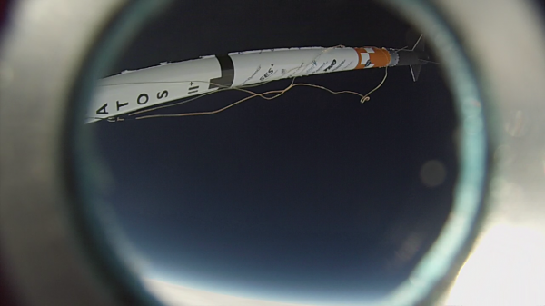 GoPro still showing the engine module at drogue deployment at 21 km altitude