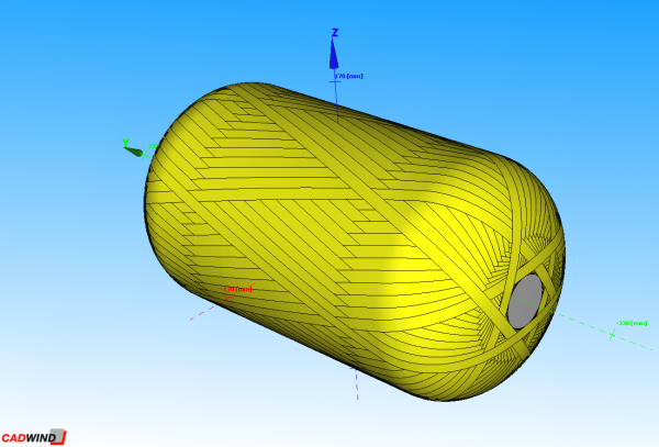 The output of the calculation of the winding pattern using the CADWIND software provided by Material SA