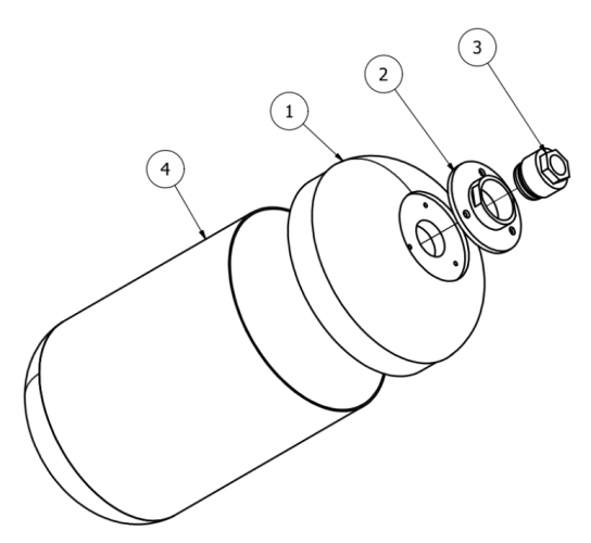 An overview of the design of the liner. 1) Endcap, 2) Outer insert, 3) inner insert and 4) PVC tube