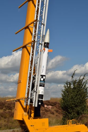 ACT V7S rocket in the T-Minus launch tower