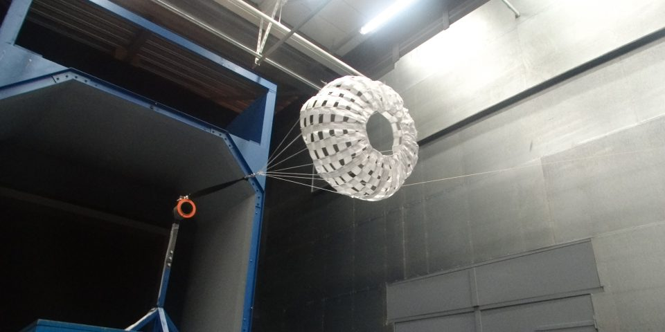 Hemisflo ribbon drogue parachute deployed in the wind tunnel