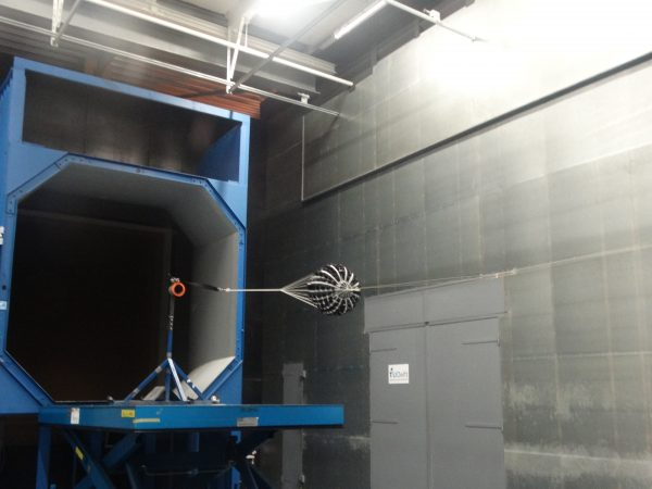 New and improved hemisflo ribbon parachute in the wind tunnel.